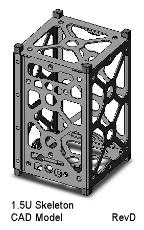 CubeSat Kit 1.5U Skeletonized CAD Model