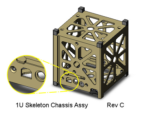CubeSat Kit 1U Skeletonized Chassis Assembly