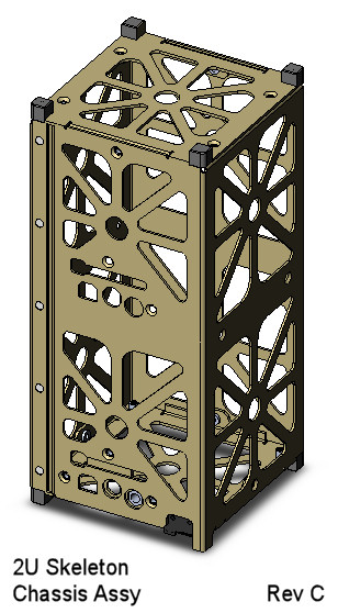 CubeSat Kit skeletonized 2U CAD model