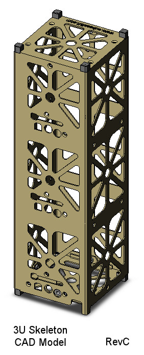 CubeSat Kit skeletonized 3U CAD model